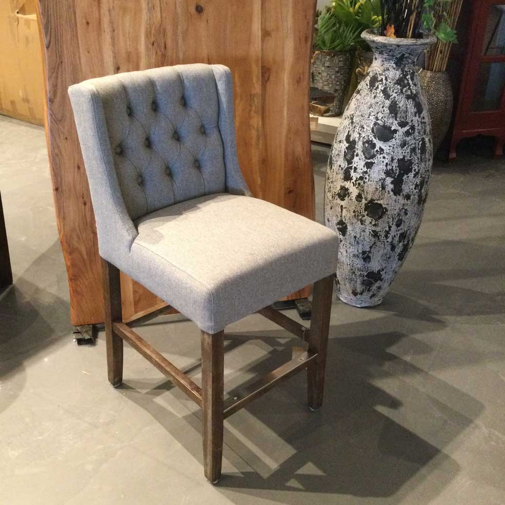 Grey Fabric tufted counter stool