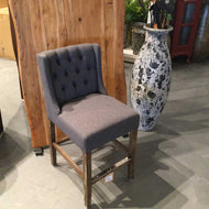 Charcoal Fabric Tufted counter Stool