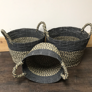 Navy Blue Handwoven Seagrass & Raffia Storage Baskets with handles
