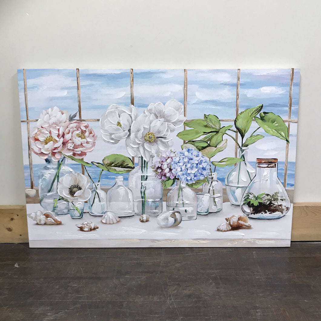 Flowers in a window painting