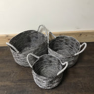 Silver and Black Wicker Baskets