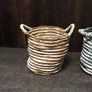 Stripped assorted white and color baskets with handle