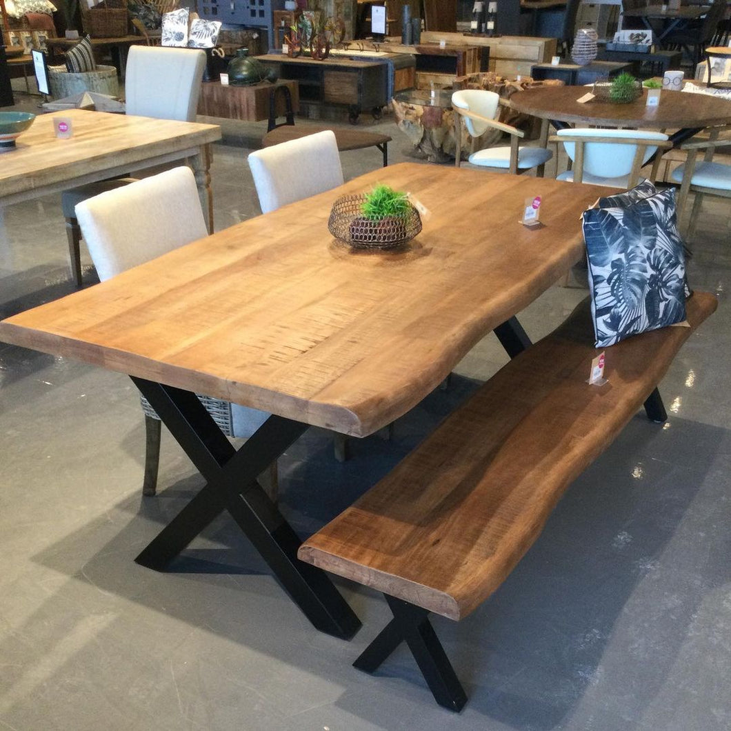 79 inch mango dining table with X legs
