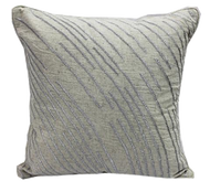Nat / Taupe Embroidered cotton Flex pillow 18 x 18
