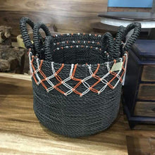 Load image into Gallery viewer, Navy blue baskets with orange accents (set of 3) - $149.00