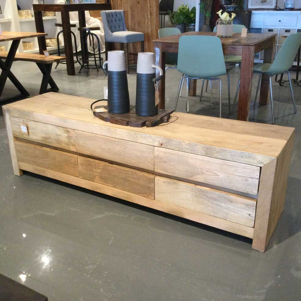 6 drawer Mango wood Tv Stand