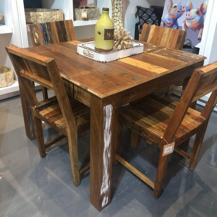 39 inch Square Recycled wood dining table