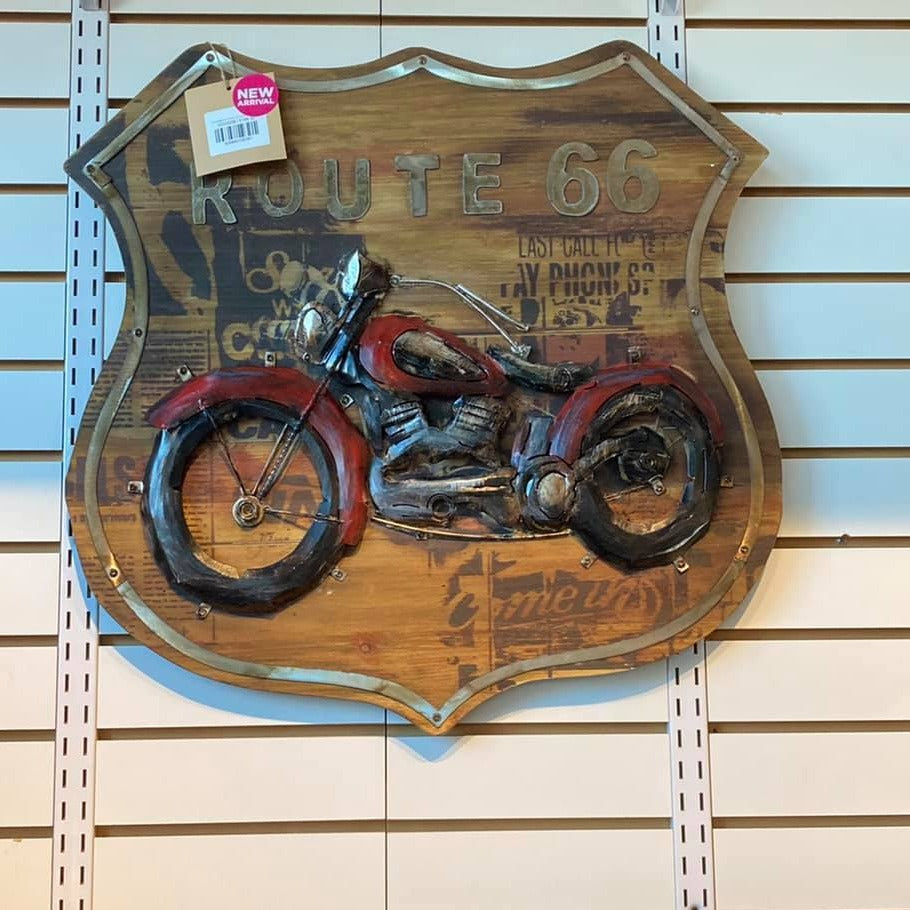 Route 66 Motorcycle, 3D Painting on Wood