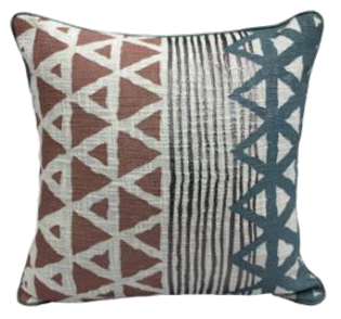 Rust blue Indian print pillow with piping 18 x 18