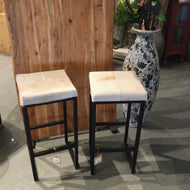 Cowhide square seat bar stool