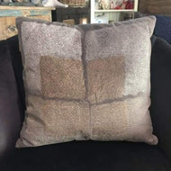 Taupe velvet window embroidered pillow 18 x 18