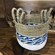 Wave Tri colour seagrass and raffia baskets (set of 3) - $149.00