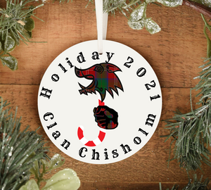 Clan Chisholm Holiday 2021 Ornament, Scottish Family Christmas Tree Decoration, Personalized Celtic Yuletide Decor - Alba Forged