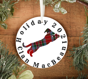 Clan MacBean Holiday 2021 Ornament, Scottish Family Christmas Tree Decoration, Personalized Celtic Yuletide Decor - Alba Forged