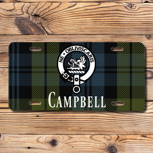 Clan Campbell License Plate, Scottish Tartan Plaid, Scotland Clan Crest Gifts, Personalized Celtic Campbell Decoration, Scots Tartan Plate