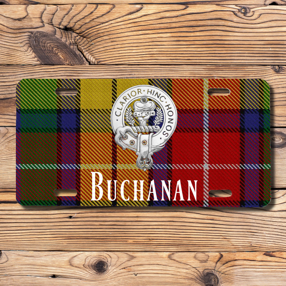 Clan Buchanan License Plate, Scottish Tartan Plaid, Scotland Clan Crest Gifts, Personalized Celtic Buchanan Decoration, Scots Tartan Plate