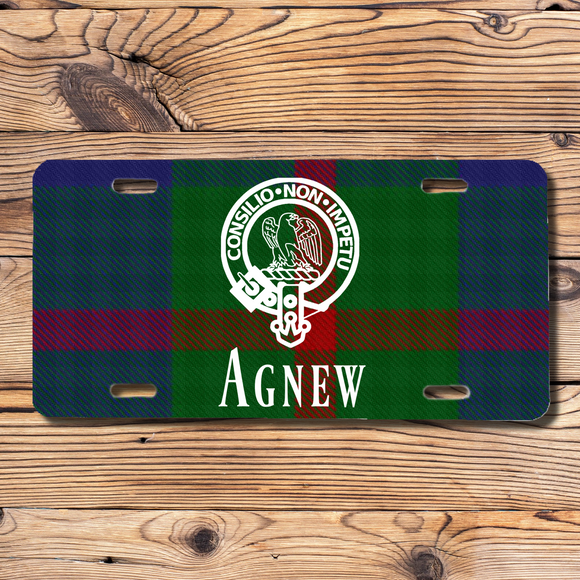 Clan Agnew License Plate, Scottish Tartan Plaid, Scotland Clan Crest Gifts, Personalized Celtic Agnew Decoration, Scots Tartan Plate
