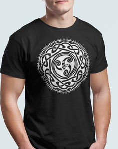 Celtic Knot T Shirt Triskelion Stone Art Dark Age Pictish Symbol Warrior Tribe Unisex Tee - Alba Forged