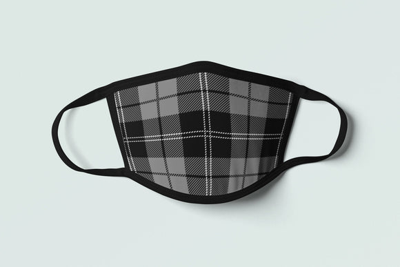 Brittany Tartan Face Mask, Black Plaid Face Covering, Breton Flag Inspired Celtic Pattern Mask - Alba Forged