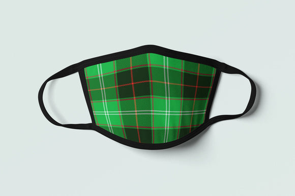 Welsh Tartan Face Mask Green Plaid Wales Flag Inspired Celtic Pattern - Alba Forged