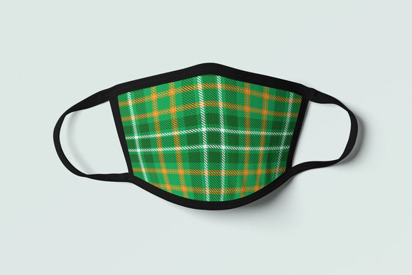 Irish Tartan Mask, Green Plaid Face Mask, Ireland Flag Inspired Celtic Pattern Face Covering - Alba Forged