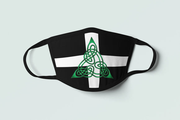 Celtic Cornish Flag Face Mask, Cornwall Tribal Knotwork Covering, Brittonic Warrior Artwork Mask - Alba Forged