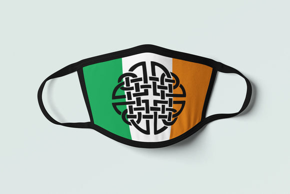 Celtic Irish Flag Mask Ireland Face Cover-Up Knotwork Cross Erin Go Bragh Face Mask Protective Mask Polyester Celt Tribal Gaelic Unisex - Alba Forged
