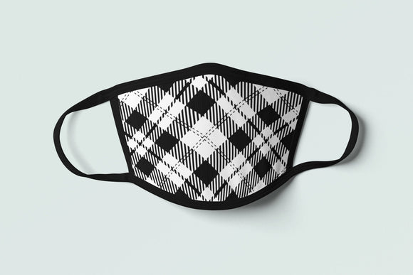 Cornish Tartan Face Mask Black Plaid Cornwall Flag Inspired Celtic Pattern - Alba Forged