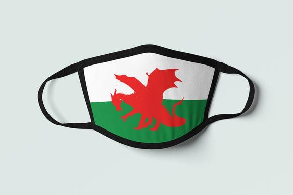 Celtic Welsh Flag Mask Wales Face Cover-Up Dragon Cymru Am Byth Face Mask Protective Mask Cotton Polyester Celt Tribal Gaelic Unisex - Alba Forged
