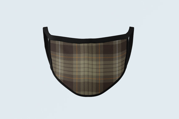 Weathered Tartan Mask, Muted Hunting Drab Plaid Face Covering, Scottish Celtic Face Mask - Alba Forged