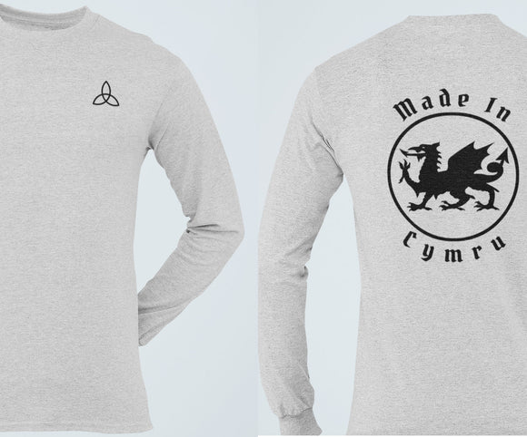 Made In Cymru Long Sleeve Tee, Welsh Patriot T Shirt, Celtic Triquetra Knot Wales Pride Heritage Unisex Shirt - Alba Forged