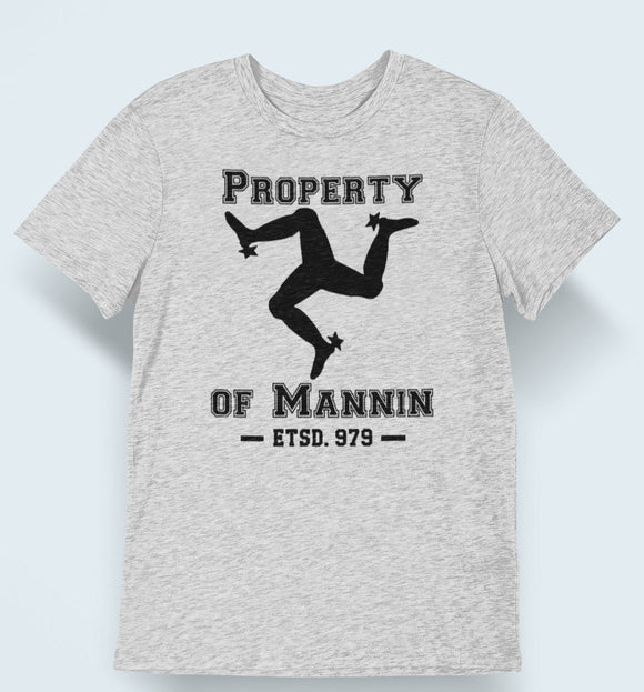 Property of Mannin Personalized T Shirt, Athletic Style Isle of Man Patriot Heathered Shirt, Manx Pride Sporty Unisex Tee - Alba Forged