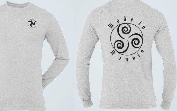 Made In Mannin Long Sleeve Tee, Isle of Man Patriot T Shirt, Celtic Triskelion Manx Pride Heritage Unisex Shirt - Alba Forged