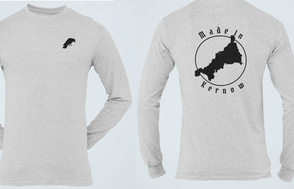 Made In Kernow Long Sleeve Tee, Cornwall Patriot T Shirt, Chough Raven Crow Cornish Pride Celtic Heritage Unisex Shirt - Alba Forged
