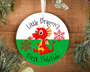 Little Dragon's First Yuletide Ornament, Welsh Christmas Tree Decoration, Celtic Winter Personalized Holiday Decor - Alba Forged