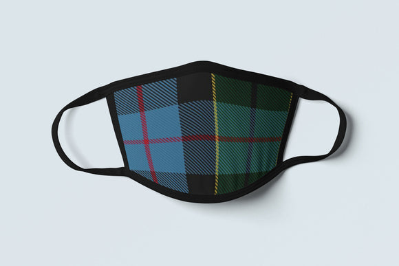 Clan Forsyth Tartan Face Mask, Scottish Family Heritage Face Covering, Celtic Plaid Ancestry Mask - Alba Forged
