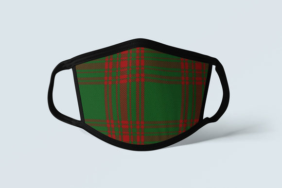 Clan Menzies Tartan Face Mask, Scottish Family Heritage Face Covering, Celtic Plaid Ancestry Mask - Alba Forged
