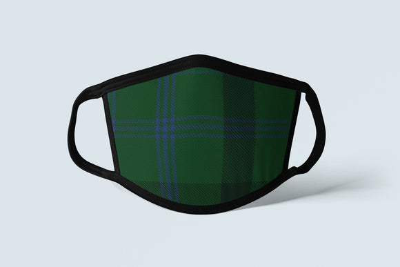 Clan Montgomery Tartan Face Mask, Scottish Family Heritage Face Covering, Celtic Plaid Ancestry Mask - Alba Forged