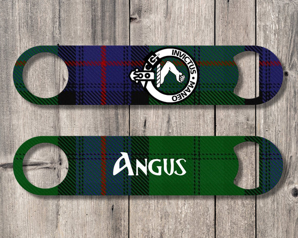 Clan Armstrong Bottle Opener, Scottish Tartan Plaid, Scotland Clan Crest Gifts, Personalized Celtic Armstrong Barware, Stainless Steel - Alba Forged