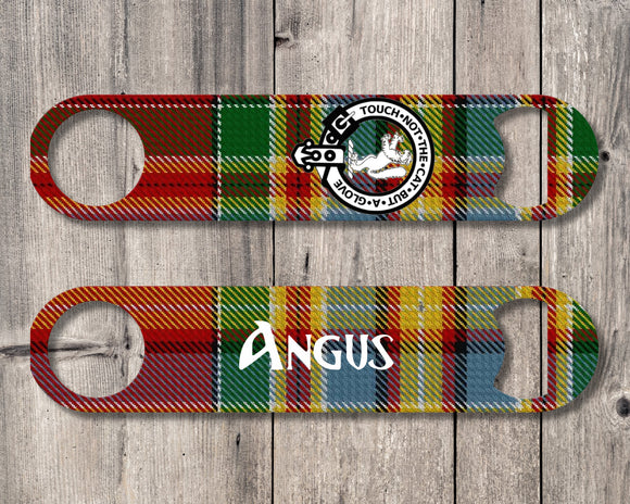 Clan Chattan Bottle Opener, Scottish Tartan Plaid, Scotland Clan Crest Gifts, Personalized Celtic Chattan Barware, Stainless Steel - Alba Forged