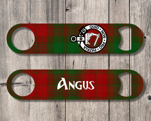 Clan Dewar Bottle Opener, Scottish Tartan Plaid, Scotland Clan Crest Gifts, Personalized Celtic Dewar Barware, Stainless Steel - Alba Forged