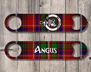 Clan Innes Bottle Opener, Scottish Tartan Plaid, Scotland Clan Crest Gifts, Personalized Celtic Innes Barware, Stainless Steel - Alba Forged