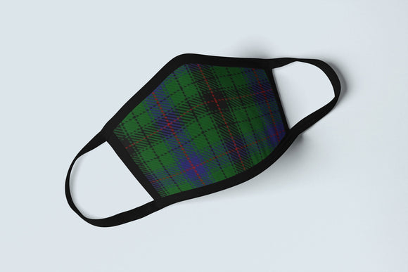Clan Davidson Tartan Face Mask, Scottish Family Heritage Face Covering, Celtic Plaid Ancestry Mask - Alba Forged