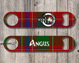 Clan Munro Bottle Opener, Scottish Tartan Plaid, Scotland Clan Crest Gifts, Personalized Celtic Munro Barware, Stainless Steel - Alba Forged