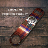 Clan Moffat Bottle Opener, Scottish Tartan Plaid, Scotland Clan Crest Gifts, Personalized Celtic Moffat Barware, Stainless Steel - Alba Forged