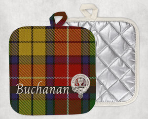 Clan Buchanan Pot Holder, Scottish Tartan Plaid, Scotland Clan Crest Gifts, Personalized Celtic Kitchen Accessory, Woven Linen - Alba Forged