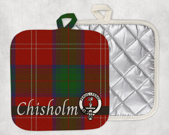 Clan Chisholm Pot Holder, Scottish Tartan Plaid, Scotland Clan Crest Gifts, Personalized Celtic Kitchen Accessory, Woven Linen - Alba Forged