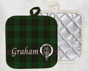 Clan Graham Pot Holder, Scottish Tartan Plaid, Scotland Clan Crest Gifts, Personalized Celtic Kitchen Accessory, Woven Linen - Alba Forged