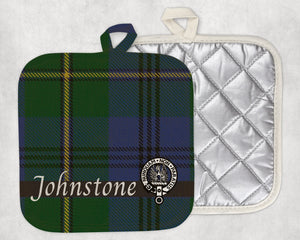 Clan Johnstone Pot Holder, Scottish Tartan Plaid, Scotland Clan Crest Gifts, Personalized Celtic Kitchen Accessory, Woven Linen - Alba Forged