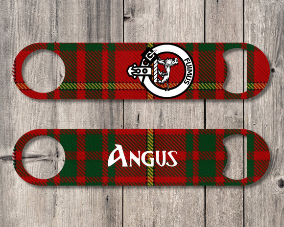 Clan Bruce Bottle Opener, Scottish Tartan Plaid, Scotland Clan Crest Gifts, Personalized Celtic Bruce Barware, Stainless Steel - Alba Forged